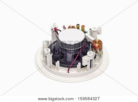 White loudspeaker with copper wire coil and clips isolated on white background