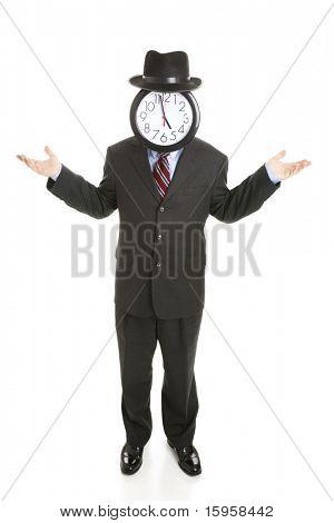 Empresário sem rosto com um relógio para um rosto, shrugging seus ombros.  Corpo inteiro isolado no branco.