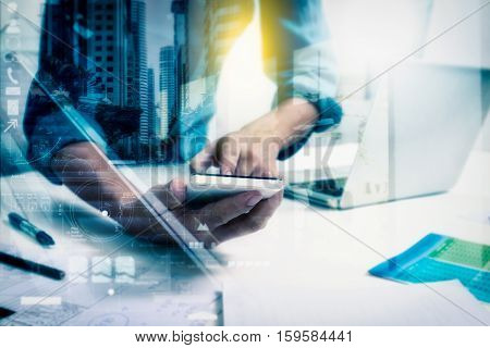 Double Exposure Of Businessman Using Smart Phone And Connection Network And Business Concept, Copy S