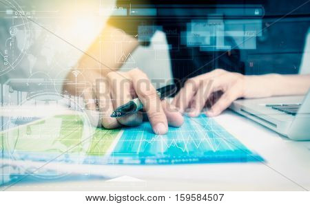 Double exposure of business people prepare and reading for documents and graph business diagram, film effect and business concept, copy space, mock up.