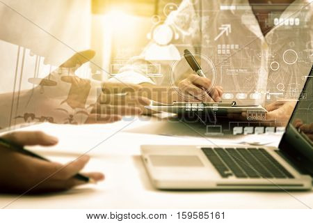 Double Exposure Of Business People Meeting To Discuss The Situation On The Marketing, Businessman An
