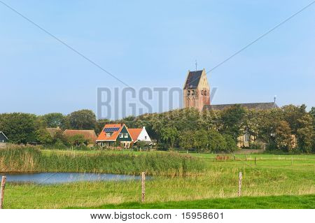 Little village at the Dutch wadden island Ameland