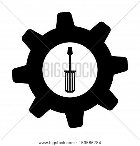 screwdriver and gear tool icon image vector illustration design