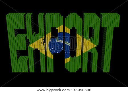 Export text made of containers with Brazilian flag illustration