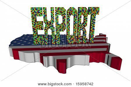Export Text waren von Containern auf USA Karte Flagge illustration