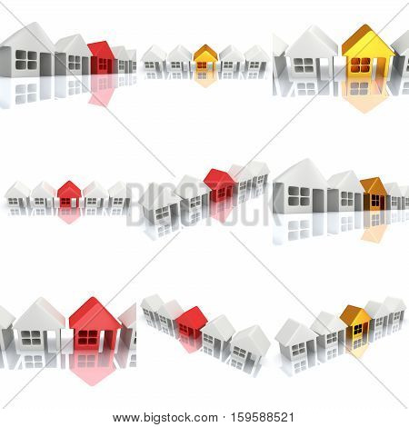 Real estate, rent, building, home, out of crowd concept. Row of white blank houses with red or gold one. 3d render concept.