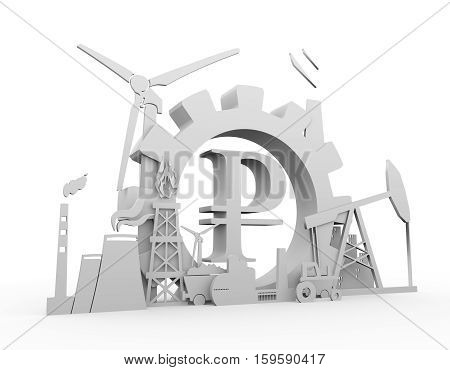 Energy and Power icons set on white backdrop. Sustainable energy generation and heavy industry. 3D rendering. Ruble money sign