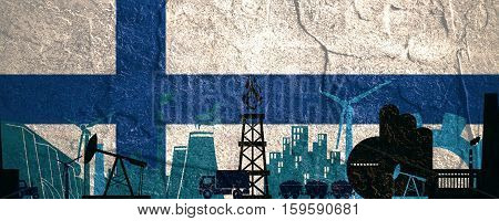 Energy and Power icons set. Header banner with Finland flag. Sustainable energy generation and heavy industry. Concrete textured