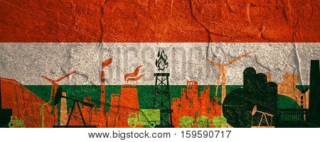 Energy and Power icons set. Header banner with Hungary flag. Sustainable energy generation and heavy industry. Concrete textured