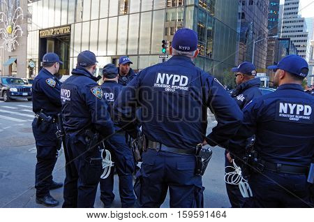 New York, New York-November Eleventh: New York City Police Department provide security for Trump Tower.  November 11th 2016 at 5th Avenue between East 56th and East 57th Street, NYC