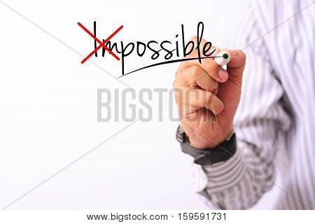 business concept image of a hand holding marker and write possible isolated on white