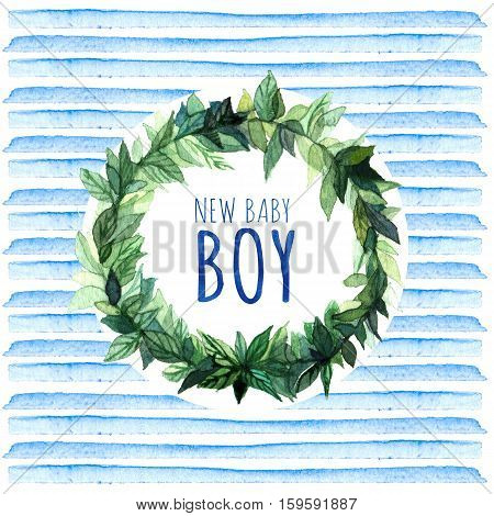 Baby Shower Invitation Card with blue stripes and wreath New baby boy. Baby Shower Greeting Card. Watercolor creative greeting cards template.