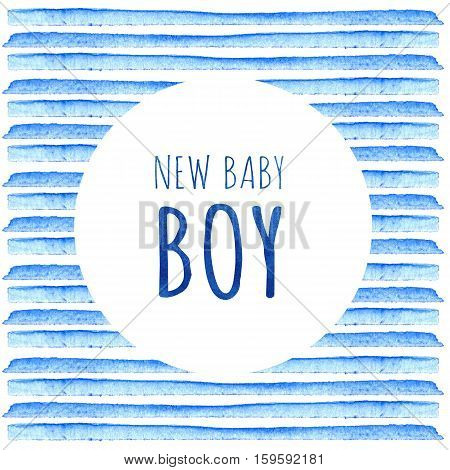 New Baby Boy. Watercolor Creative Greeting Cards Template. Retro Style Background. Element Design Fo
