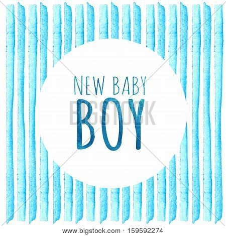 Baby Shower Invitation Card. New baby boy. Baby Shower Greeting Card with blue stripes. Watercolor creative greeting cards template.