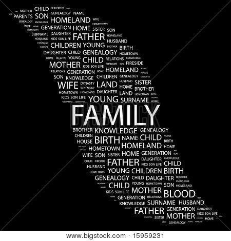 FAMILY. Word collage on black background. Vector illustration. Illustration with different association terms.