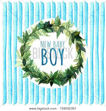 Baby Shower Invitation Card with blue stripes and wreath. New baby boy.  Watercolor creative greeting cards template.