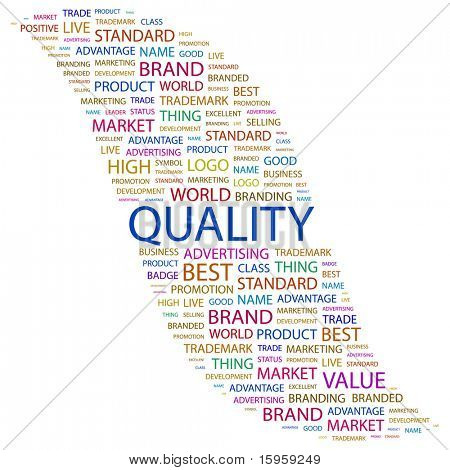 QUALITY. Word collage on white background. Vector illustration. Illustration with different association terms.