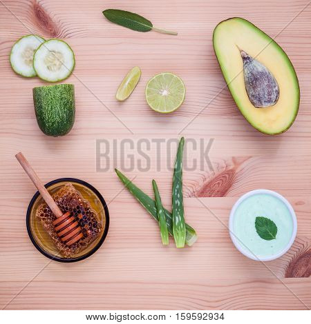Homemade Skincare And Body Scrubs With Natural Ingredients Avocado ,aloe Vera ,lemon ,cucumber Slice