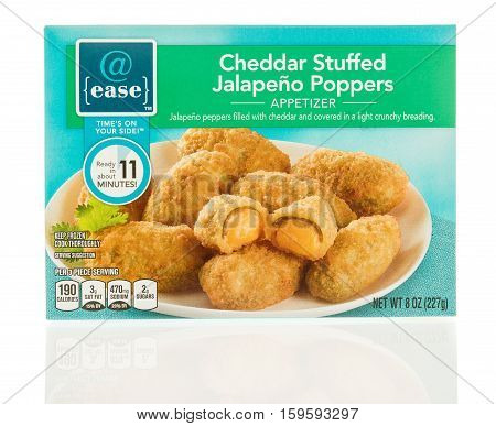 Winneconne WI - 1 December 2016: Package of @ease cheddar stuffed jalapeno poppers on an isolated background.