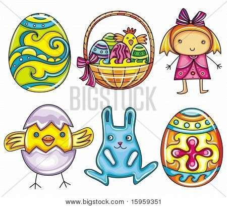 Easter cartoon icon set  part 1: Painted easter egg, basket with easter eggs and chicken, cute little girl, newborn chick, Easter bunny or rabbit, decorative easter egg with cross pattern.