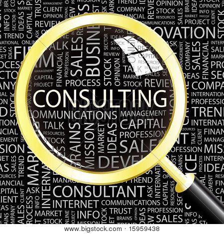 CONSULTING. Magnifying glass over background with different association terms. Vector illustration.