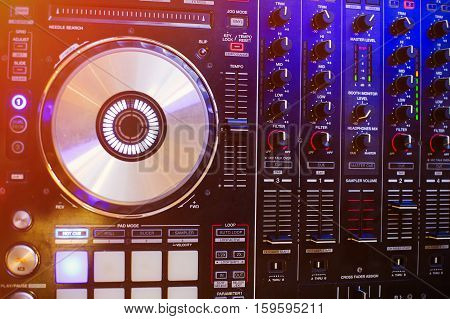 DJ stand in the light night club concept entertainment