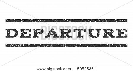 Departure watermark stamp. Text caption between horizontal parallel lines with grunge design style. Rubber seal gray stamp with scratched texture. Vector ink imprint on a white background.
