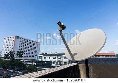 Satellite dishes or satellite antennas mounted on the home.