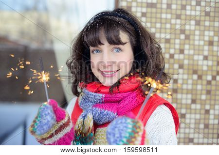 Girl With Sparklers Winter