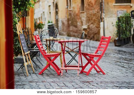 Cozy Outdoor Cafe In Rome, Italy
