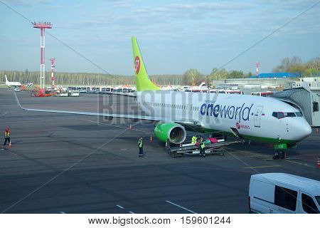 MOSCOW, RUSSIA - APRIL 30, 2016: Boeing 737 Next Gen (VQ-BKW ) airlines S7 Siberia Airlines on the Domodedovo airport. Preparing for the departure