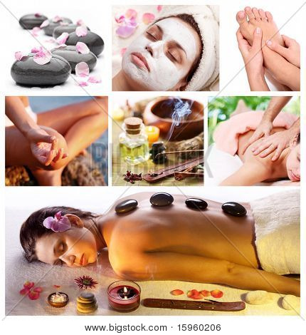Collection of spa treatments and massages.