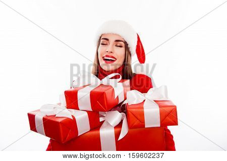 Happy Smiling Woman Holding Boxes With Present On Xmas