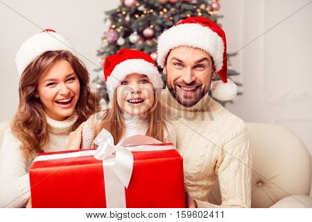 Portrait Of Laughing Happy Family Holding Christmas Present