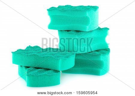 Pile of sponges isolated on white background.