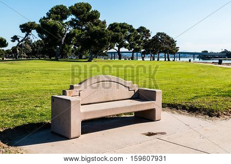 Bench at Vacation Isle Park in the Mission Bay area of San Diego, California.