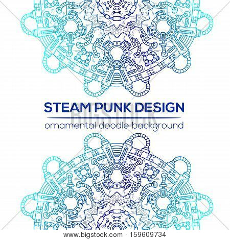 Steampunk Vector Design With Industrial Technical Elements Of Mechanics.