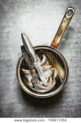 Fillet Of Salted Herring In The Pot.