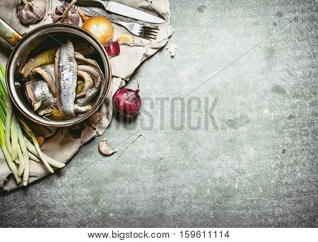 Herring Fillets In A Saucepan With Spices