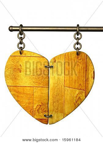 Wooden signboard in the form of heart