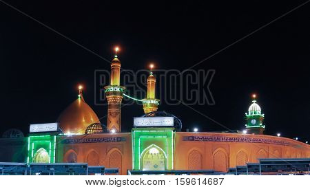 Shrine of Imam Hussain ibn Ali at night Karbala Iraq