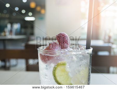 Sparkling strawberry soda refresh  drink sweet and sour