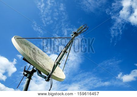 Satellite dishes with blue sky and cloud background.
