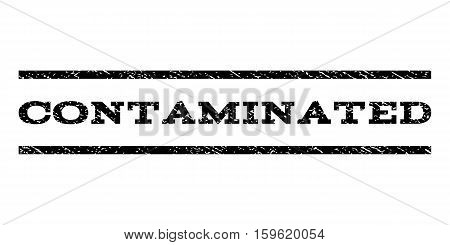 Contaminated watermark stamp. Text tag between horizontal parallel lines with grunge design style. Rubber seal black stamp with dirty texture. Vector ink imprint on a white background.
