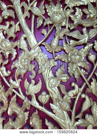 Carved motifs of trees in the literature. At wall of wooden doors