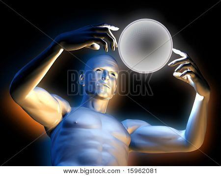 Strange magic man with colorfull hypnotic ball in hands