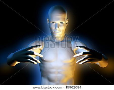 Strange magic man in hypnotic pose