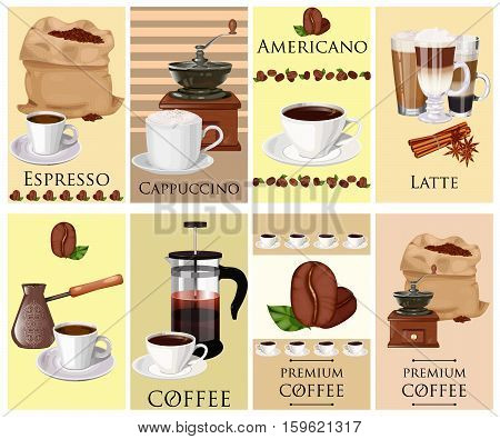 Coffee theme vector set. Cup of coffee latte espresso cappuccino coffee mill coffee pot bag of beans