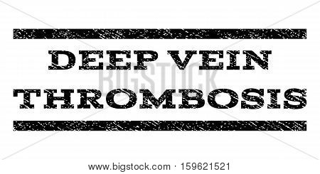 Deep Vein Thrombosis watermark stamp. Text tag between horizontal parallel lines with grunge design style. Rubber seal black stamp with unclean texture. Vector ink imprint on a white background.