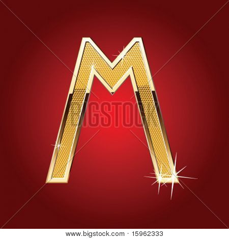 Golden font Letter M